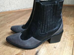 Cowboy Boots Ankle Boots von Seven Footwear USA Leder schwarz grau 41