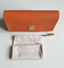 TORY BURCH LARGE ORANGE SUNGLASS CASE WITH CLEANING POUCH