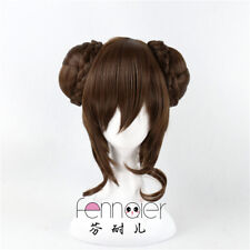 Anime Lolita  Brown 30cm Long Wavy Women Party Synthetic Hair Cosplay Wig+2 Buns