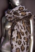 EXOTIC Soft Brown Leopard Print Crochet Knit Long Asymmetric Wrap Scarf