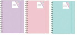 A4/A5 NOTEBOOK LINED NOTE PAD SPIRAL POLY BANDED TWINWIRED OFFICE SCHOOL PASTEL