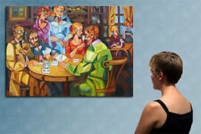 """55"""" - THE POKER GAME   - original  cubist painting oil on canvas by ANNA !!!"""