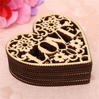 10 PCS Laser Cut Decorative Love Heart Unfinished Wooden Shapes Decoration