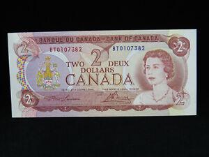 1974 $2 Bank of Canada Banknote BT 0107382 Lawson Bouey AU-UNC Grade Bill