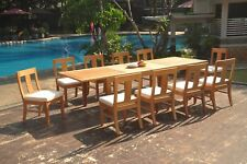 """11pc Grade-A Teak Dining Set 122"""" Caranas Rectangle Table Osborne Armless Chair"""