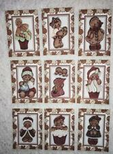 Set of 9 Cards~Christmas Gingerbread Kids~Greeting Card Toppers & Crafts ~#146N