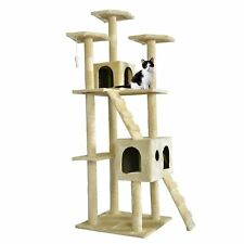 "BestPet 73"" Cat Tree Scratcher Play House - Beige"
