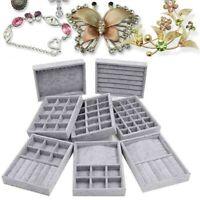 Velvet Jewelry Box Case Display Organizer Tray Holder Storage Earrings Ring Gift