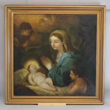 Large 18thC Antique Italian Old Master Religious Oil Painting Mary & Baby Jesus