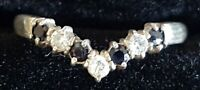 Sterling silver & sapphire vintage Art Deco antique wish heart ring - size O