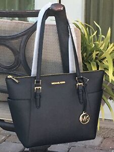 MICHAEL KORS CHARLOTTE CIARA LARGE ZIP TOTE SHOULDER BAG BLACK LEATHER GOLD $398