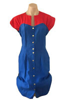 Vintage Blue Red Sheath Dress Pencil Skirt Mondo Classic Made in Aus Size 10