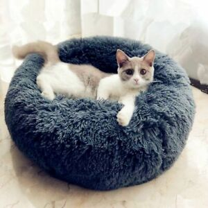 Round Bed Pet Dog Cat Plush Soft Calming Warm Sleeping Nest Fluffy Kennel Donut