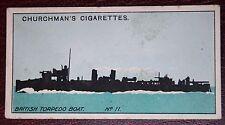 World War 1 Royal Navy Torpedo Boat  Identification Silhouette  1915 Card