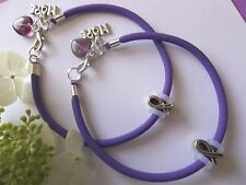 2- PANCREATIC CANCER AWARENESS  BRACELETS WITH RIBBON/HOPE CHARMS/HEART