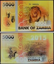 Zambia Rhino Commemorative Polymer Banknote 5000 Kwacha 2015 PRIVATE FANCY