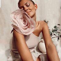 ZARA WOMAN SS20 CROP ASYMMETRIC FLORAL FLOWER TOP PALE PINK REF. 2142/020 SIZE S