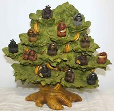 Paolo P.Chiari Monkey Tree Bananas Figurines Wall Shelf Decor 14-pc
