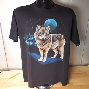 Vintage T-Shirt Wolf and Moon 1987 Sz Large Jerzees Tag Single Stitch