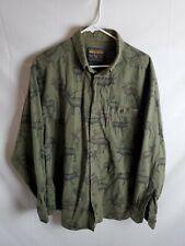 Woolrich Mens Long Sleeve Button Down Shirt Oxford Moose Deer Print sz XL