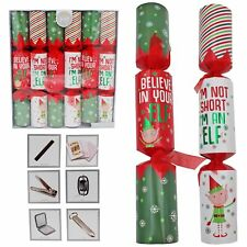 6 Pack Luxury Christmas Crackers - Novelty Elf Design