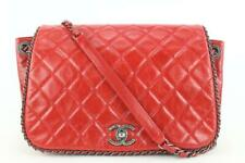 Chanel стеганая красная кожаная цепь на клапан сумка 453cas62
