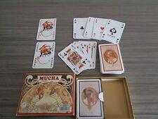 coffret de 2 jeux de 54 cartes de luxe : MUCHA : dos bleu et rouge