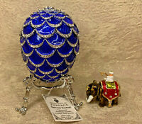 "Faberge Egg Blue Pine Cone with Elephant Surprise (4""). Made in Russia"