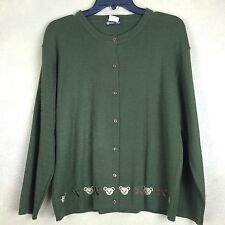 Cardigan Sweater Green with Bear Embroidery Acrylic  Aprox Large no size tag