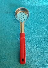 2 oz  Commercial Kitchen Slotted Spoon Ladle Stainless Steel Red handle