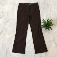 BCBGMAXAZRIA Brown Cotton Cropped Pants Capris Casual/Career Sz 4 BCBG