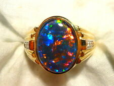 Mens Opal Ring 14ct Yellow Gold Natural Opal Triplet & Diamond 16x12 Oval 100725