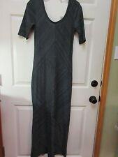 NWT Hang 10 Short Sleeve Gray/Black Knit Long Maxi Dress Size M $48 RV