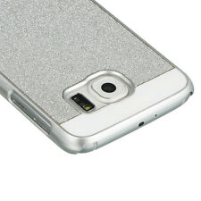 For Samsung Galaxy S6 - HARD SNAP ON PROTECTOR SKIN CASE COVER SILVER GLITTERS