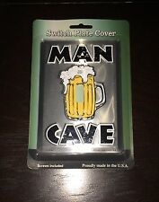 NEW MAN CAVE METAL NOVELTY SINGLE LIGHT SWITCH COVER PLATE