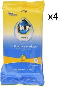 4 x 50 Pre-Moistened  Pledge Multi-Surface Wipes Citrus.