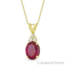 Crystal Solid 14k Yellow Gold 18x7mm Pendant Faux Ruby Red Oval & Clear Round Cz
