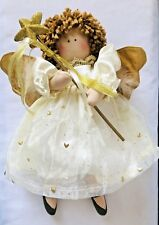 """15""""  Curly Hair Sitting Fairy Angel  Doll with Hanging Legs golden heart dress"""