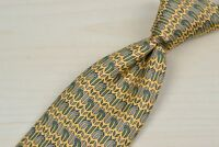 Hermes Yellow Green Geometric 100% Silk Tie EUC 7354 PA France