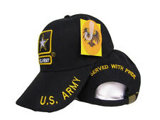 Army Star Served with Pride Retired Black Baseball Hat Ball Cap Cover