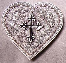 Pewter Belt Buckle Western Grace Heart Black Cross NEW