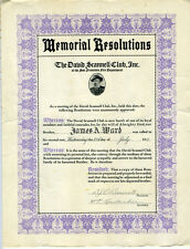 1937 San Francisco Fire Department Memorial Certificate David Scannell Club