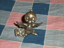 Ampersand Pewter Bird  Wings Out Flower by Feet  1 3/4 Inch High