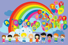 3x5 Area Rug  Educational  Balloons  Kids  ABC  Rainbow & Party School New