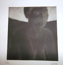 Albert Woda Buste sombre de jeune femme gravure art décoratif nice p 602