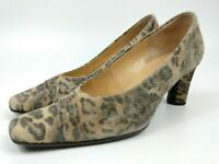 GABOR Leopard Print Textured Look Block Heels Leather Size UK 4.5