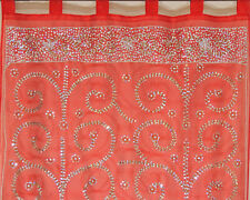 Maroon Curtain Panel - Zardozi Embroidered Beaded India Window Treatments 92""