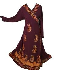 Wrap Around Plus Size Maxi Dress Hand Batik Embroidered Tall Size 16 18 20 22 24