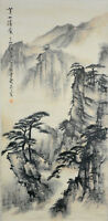 Vintage Chinese MOUNTAIN LANDSCAPE Wall Hanging Scroll Painting w STUDIO MARK