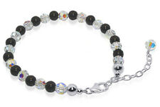 925 Sterling Silver Onyx Beads Swarovski Elements Crystal Bracelet 7 to 9 inch